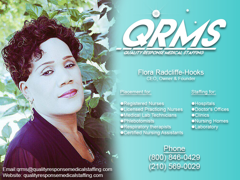 Meet Flora E. Radcliffe-Hooks, CEO, Owner and Founder of Quality Response Medical Staffing, LLC located in Cibolo, Texas.