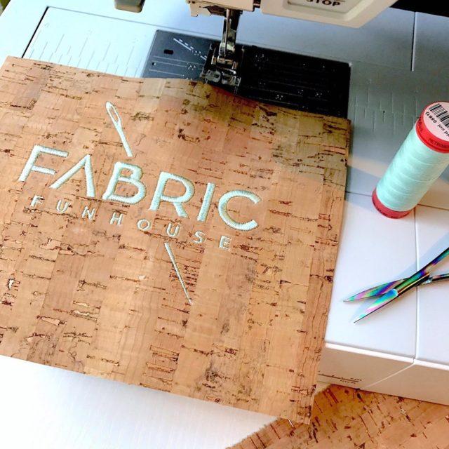 Fabric Funhouse cork logo and sewing machine